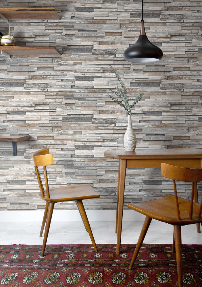 NW32600 wood peel and stick wallpaper dining room
