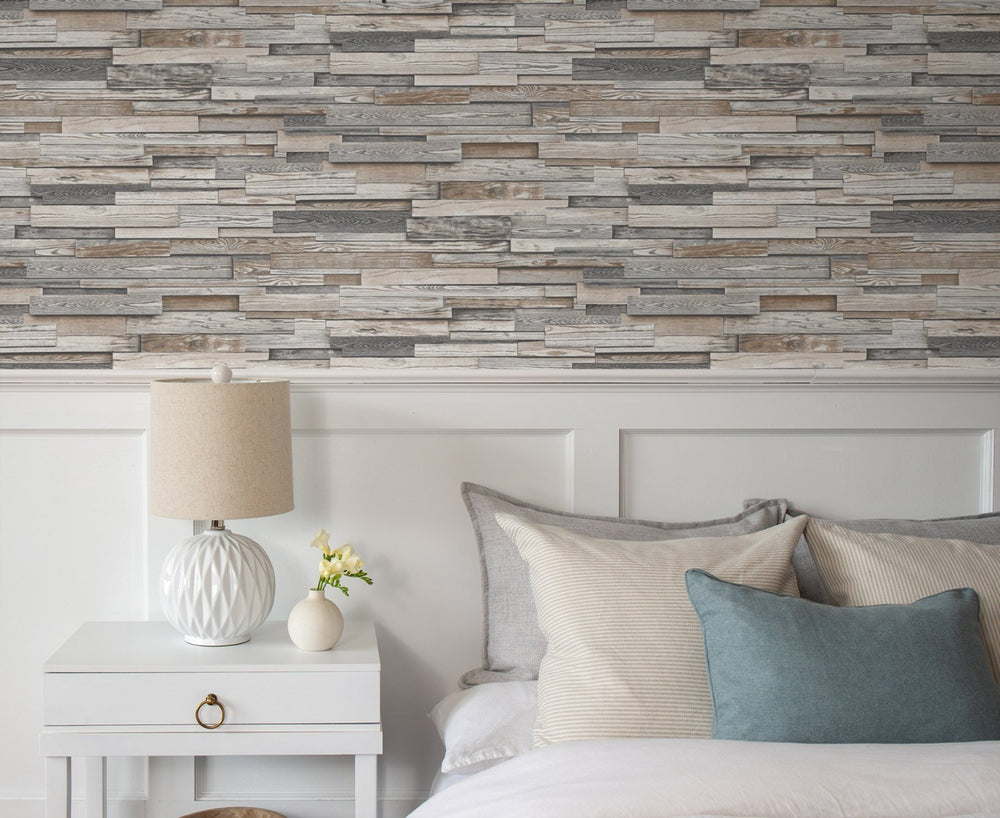 NW32600 wood peel and stick wallpaper bedroom