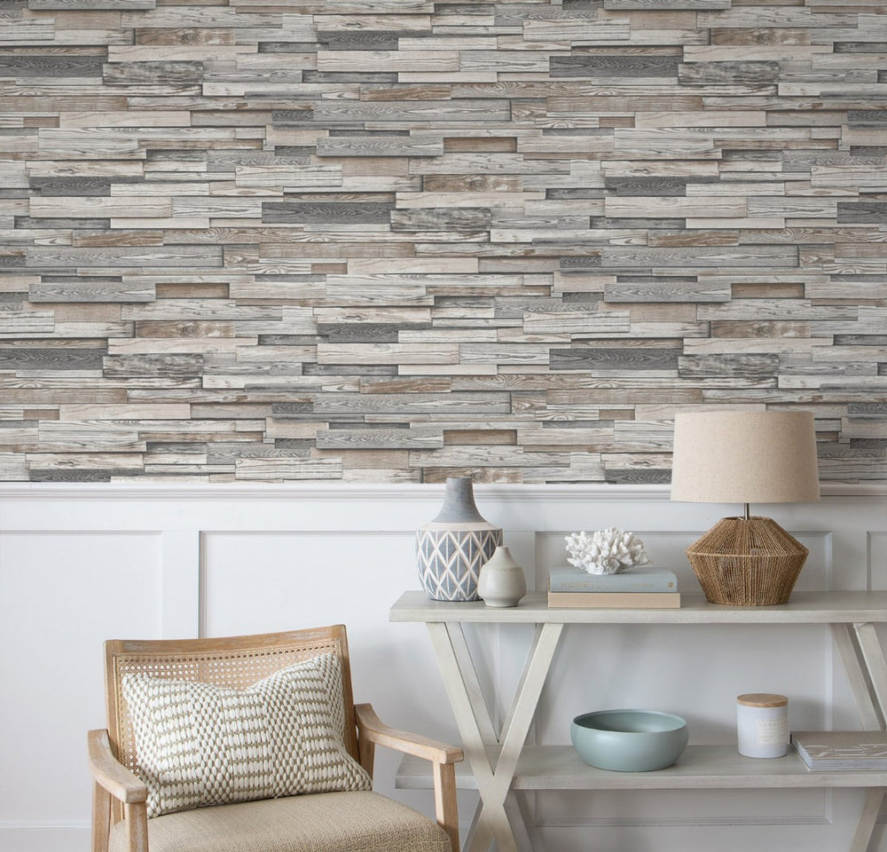 NW32600 wood plank peel and stick wallpaper living room