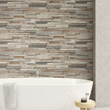 NW32601 peel and stick wood plank wallpaper bathroom