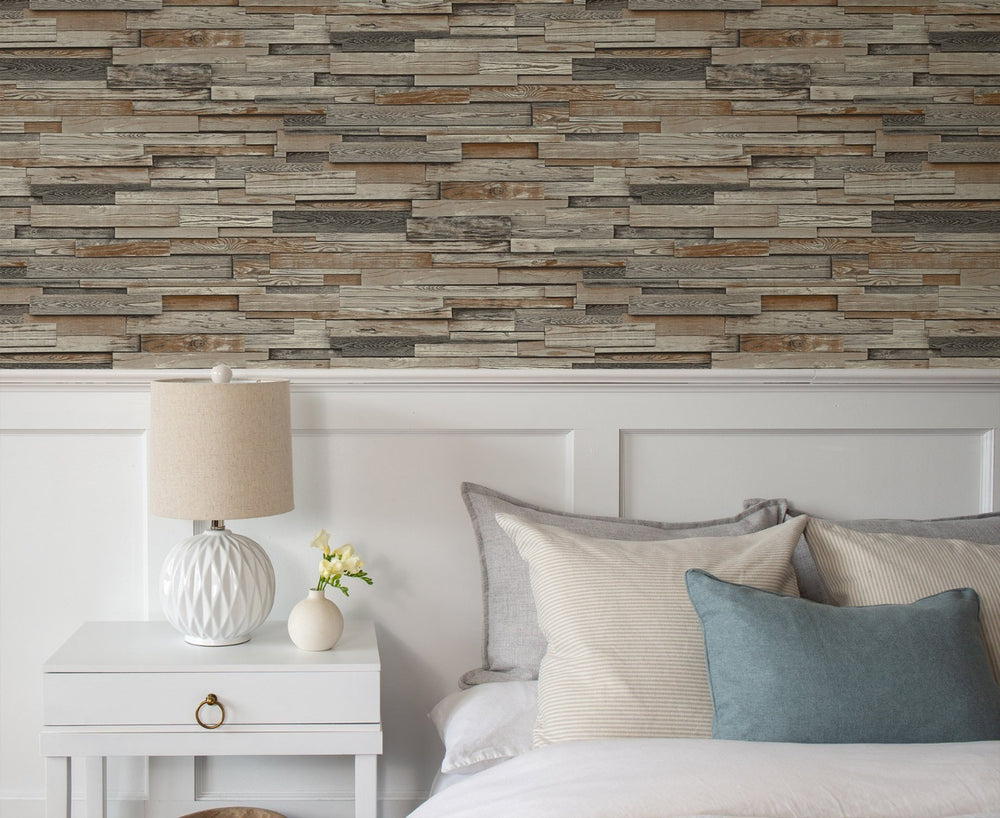 NW32601 peel and stick bedroom wallpaper wood plank