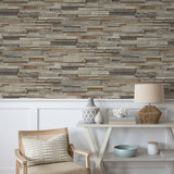 NextWall Charcoal Reclaimed Wood Plank Peel and Stick Removable Wallpaper