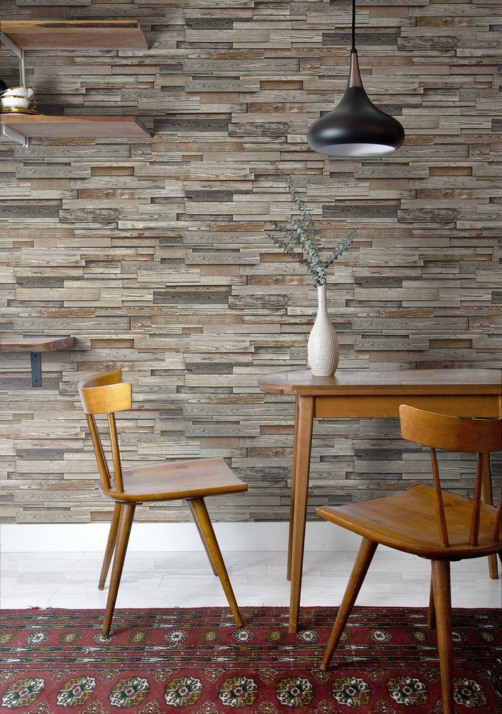 NW32601 wood peel and stick wallpaper dining room NextWall