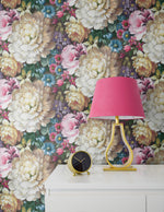 NW32700 blooming floral nightstand peel and stick removable wallpaper by NextWall