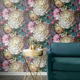 NW32700 blooming floral living room peel and stick removable wallpaper by NextWall