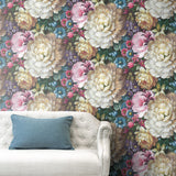NW32700 blooming floral sofa peel and stick removable wallpaper by NextWall