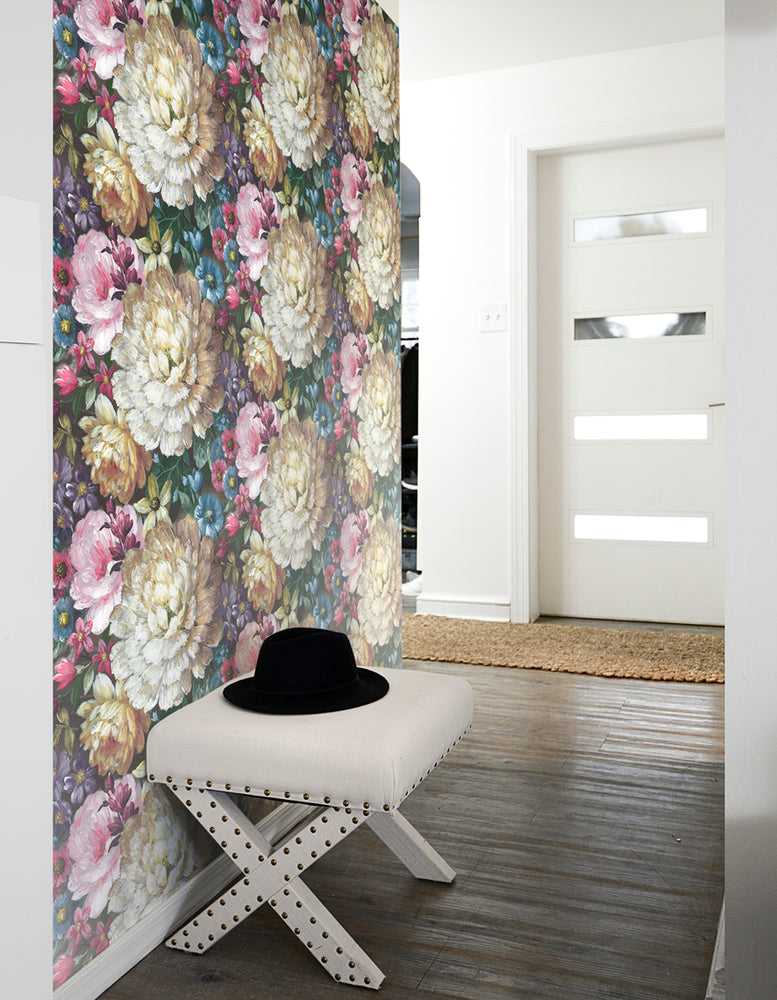 NW32700 blooming floral entryway peel and stick removable wallpaper by NextWall