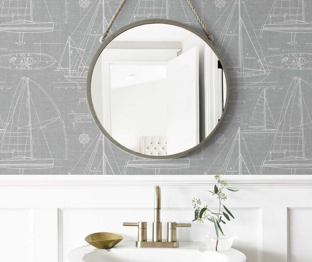 NW32908 sailboat peel and stick wallpaper bathroom
