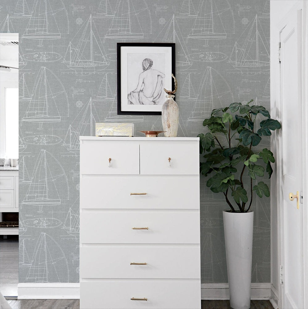 NW32908 sailboat peel and stick wallpaper bedroom