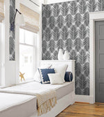 NW33000 bedroom black palm leaf peel and stick removable wallpaper by NextWall