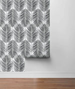NW33000 black palm leaf peel and stick removable wallpaper roll by NextWall