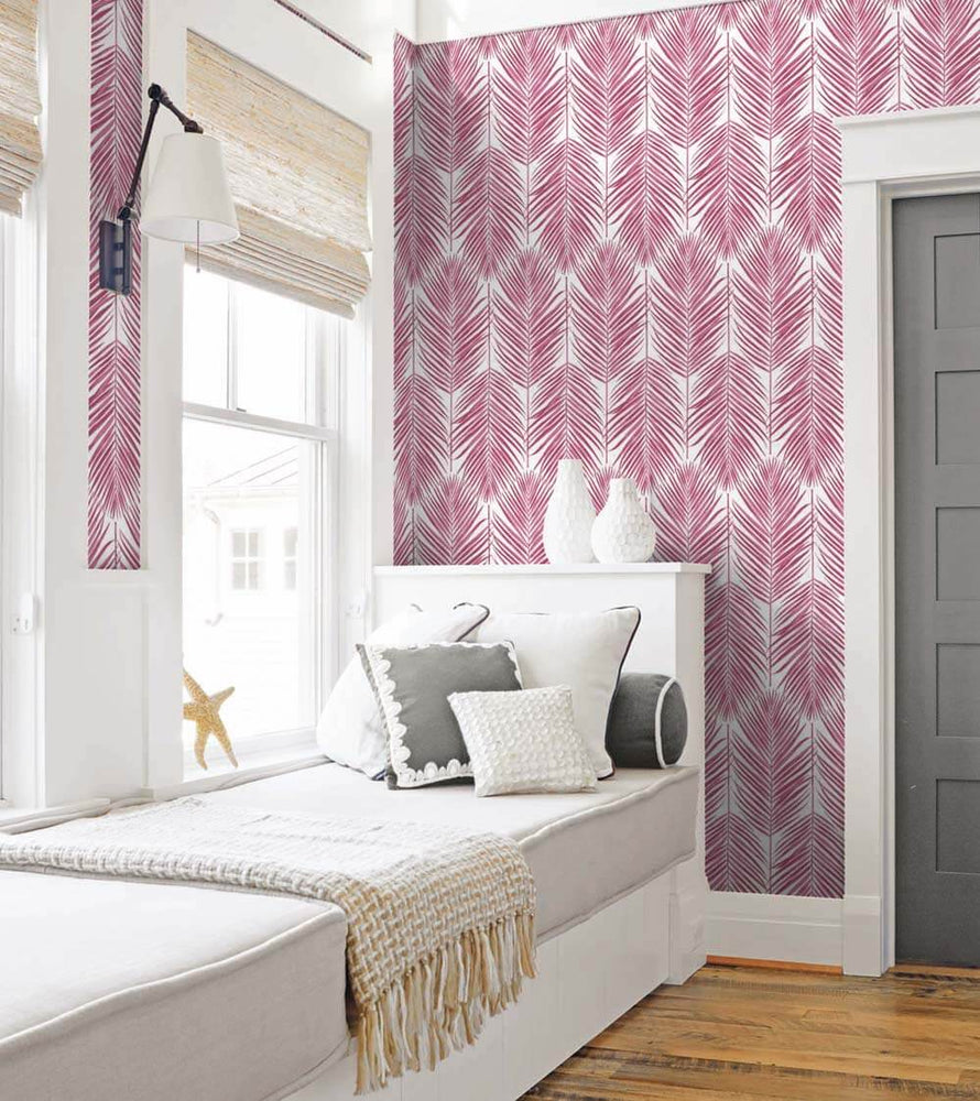 NW33001 bedroom cerise pink palm leaf peel and stick removable wallpaper by NextWall