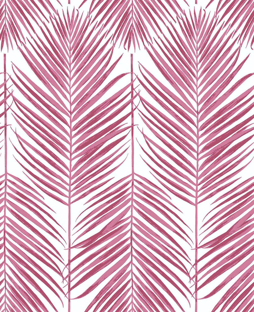 NW33001 cerise pink palm leaf peel and stick removable wallpaper by NextWall
