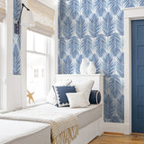 NW33002 bedroom coastal blue palm leaf peel and stick removable wallpaper by NextWall