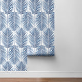 NW33002 coastal blue palm leaf peel and stick removable wallpaper roll by NextWall