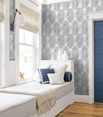 NW33008 bedroom daydream gray palm leaf peel and stick removable wallpaper by NextWall
