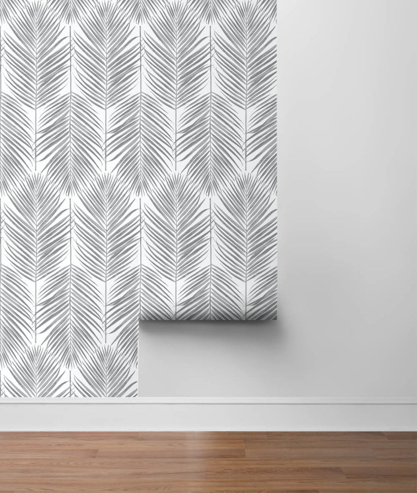 NW33008 daydream gray palm leaf peel and stick removable wallpaper roll by NextWall