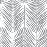 NW33008 daydream gray palm leaf peel and stick removable wallpaper by NextWall
