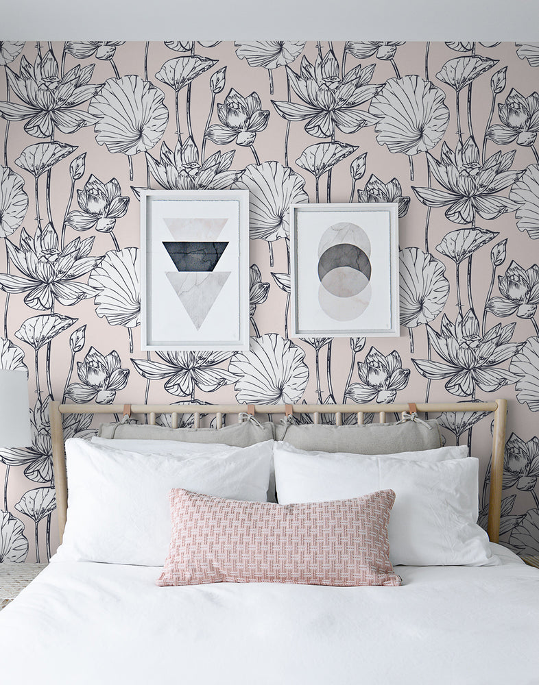 NextWall NW33101 pink lotus floral peel and stick wallpaper bedroom