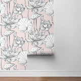 NextWall NW33101 pink lotus floral peel and stick wallpaper roll