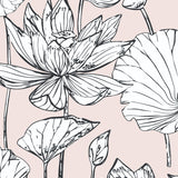 NextWall NW33101 pink lotus floral peel and stick wallpaper