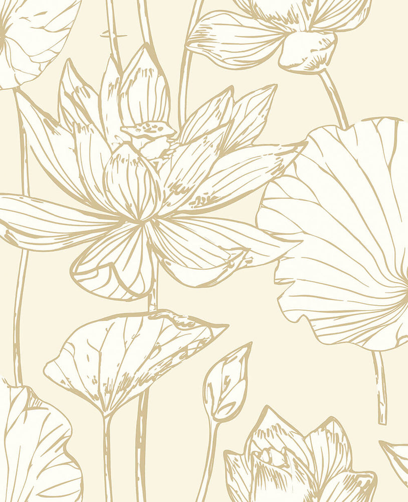 NextWall Metallic Gold Lotus Floral Peel and Stick Removable Wallpaper