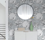 NextWall NW33108 gray lotus floral peel and stick wallpaper bedroom