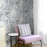 NextWall NW33108 gray lotus floral peel and stick wallpaper bedroom chair