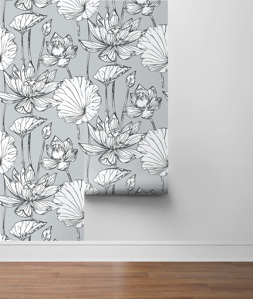 NextWall NW33108 gray lotus floral peel and stick wallpaper roll
