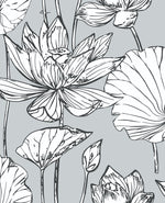 NextWall NW33108 gray lotus floral peel and stick wallpaper
