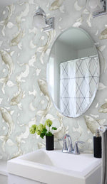 NW33208 metallic koi fish peel and stick removable wallpaper bathroom by NextWall