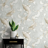 NW33208 metallic koi fish peel and stick removable wallpaper decor by NextWall
