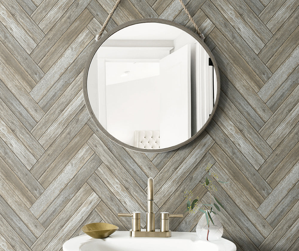 NW33308 wood chevron peel and stick removable wallpaper bathroom from NextWall