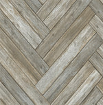 NextWall Wood Chevron Rustic Peel and Stick Removable Wallpaper