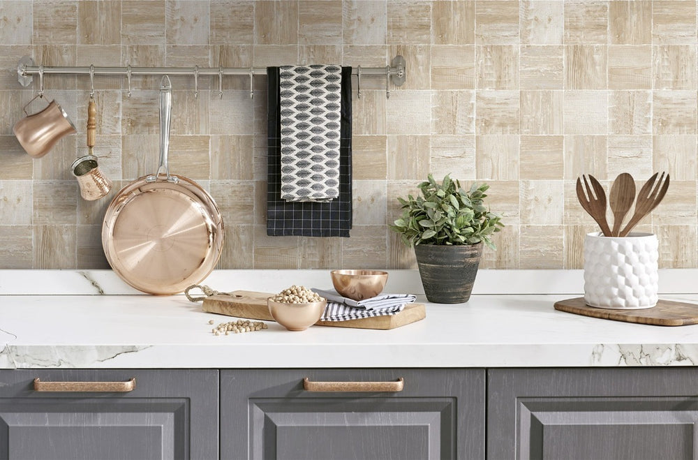NW33408 wood block rustic peel and stick removable wallpaper backsplash by NextWall
