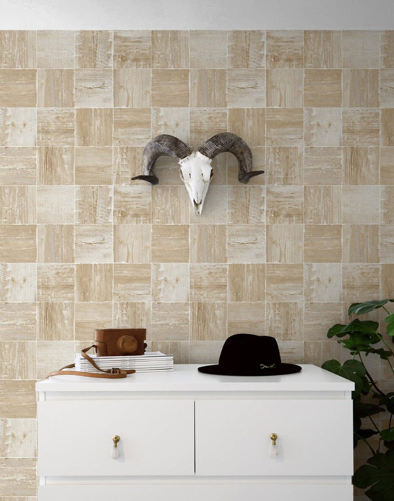 NW33408 wood block rustic peel and stick removable wallpaper decor by NextWall