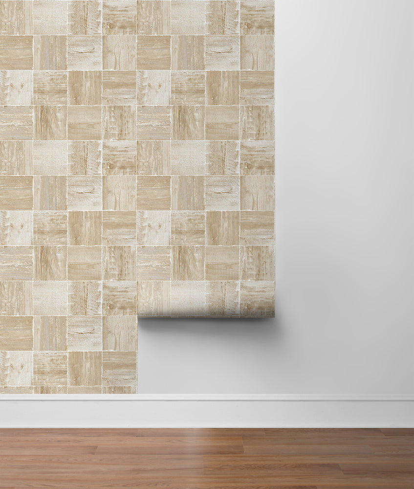 NW33408 wood block rustic peel and stick removable wallpaper roll by NextWall