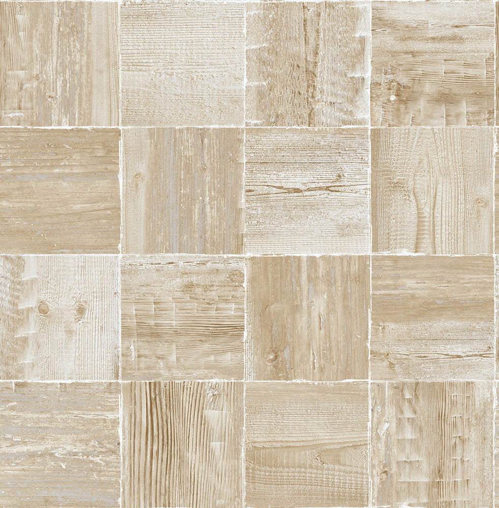 NextWall Wood Block Rustic Peel and Stick Removable Wallpaper