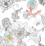 NextWall Paisley Floral Peel and Stick Removable Wallpaper