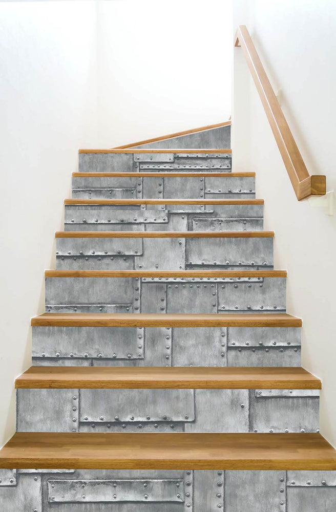 NW33808 fuselage metal panel peel and stick wallpaper stairs by NextWall