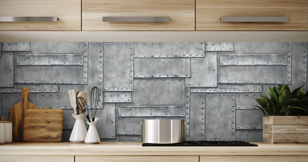 NW33808 fuselage metal panel peel and stick wallpaper backsplash by NextWall