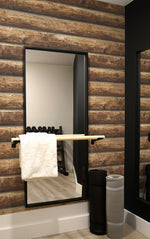 NW33905 log cabin wood rustic peel and stick removable wallpaper gym by NextWall