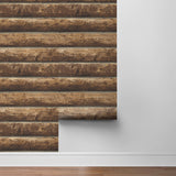 NW33905 log cabin wood rustic peel and stick removable wallpaper roll by NextWall