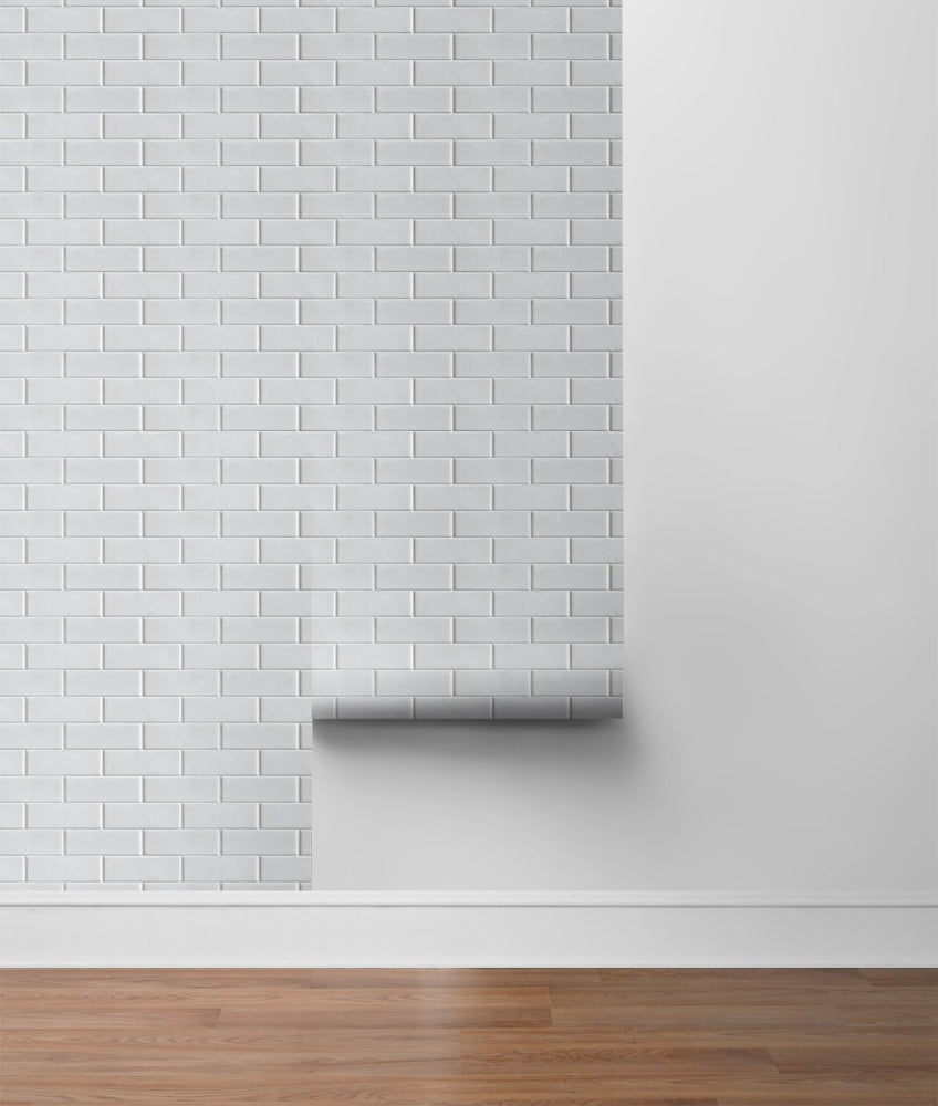 NW34000 off white subway tile peel and stick removable wallpaper roll by NextWall