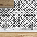 NW34200 black southwest tile peel and stick removable wallpaper kitchen from NextWall