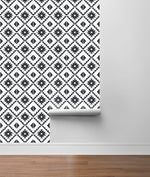 NW34200 black southwest tile peel and stick removable wallpaper roll from NextWall