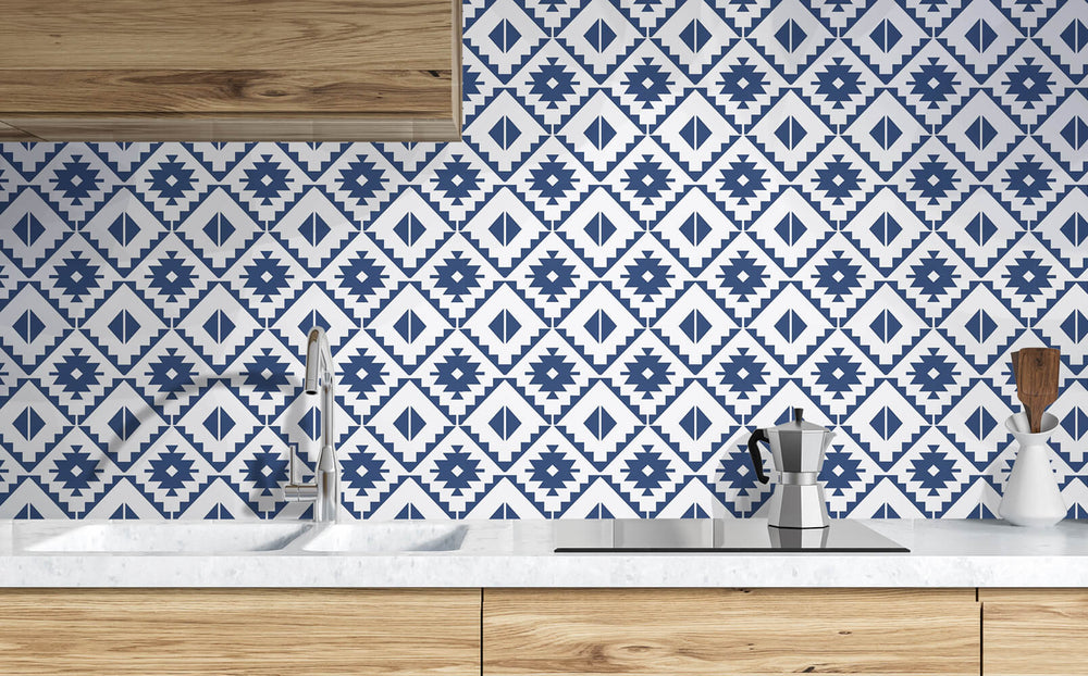 NW34202 blue southwest tile peel and stick removable wallpaper kitchen from NextWall