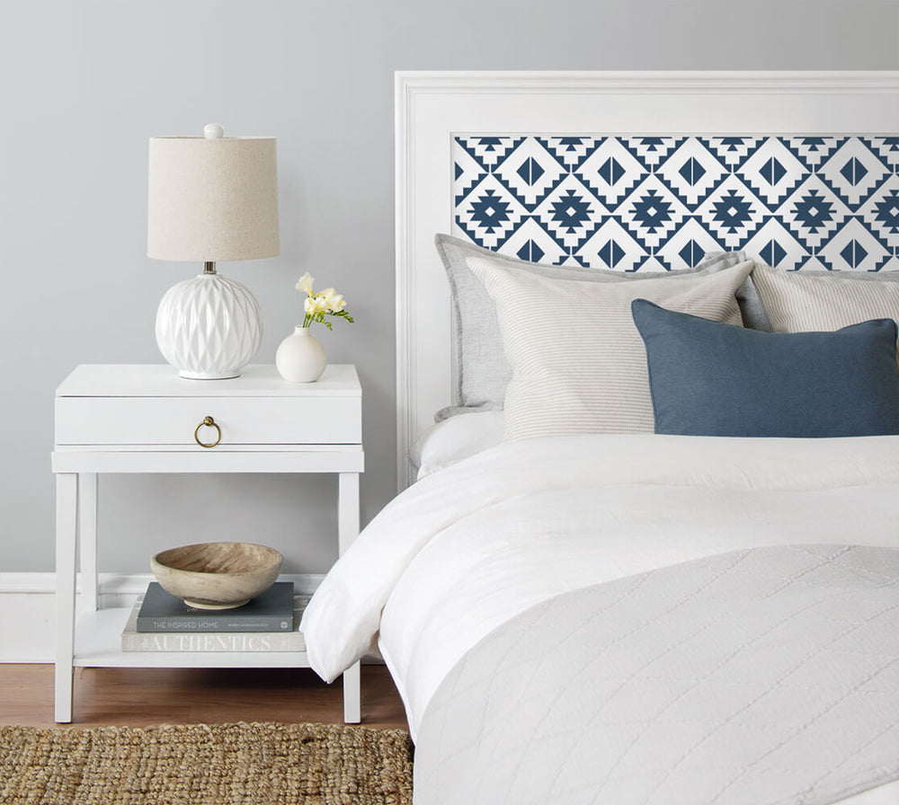 NW34202 blue southwest tile peel and stick removable wallpaper bedroom from NextWall