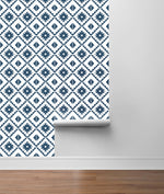 NW34202 blue southwest tile peel and stick removable wallpaper roll from NextWall