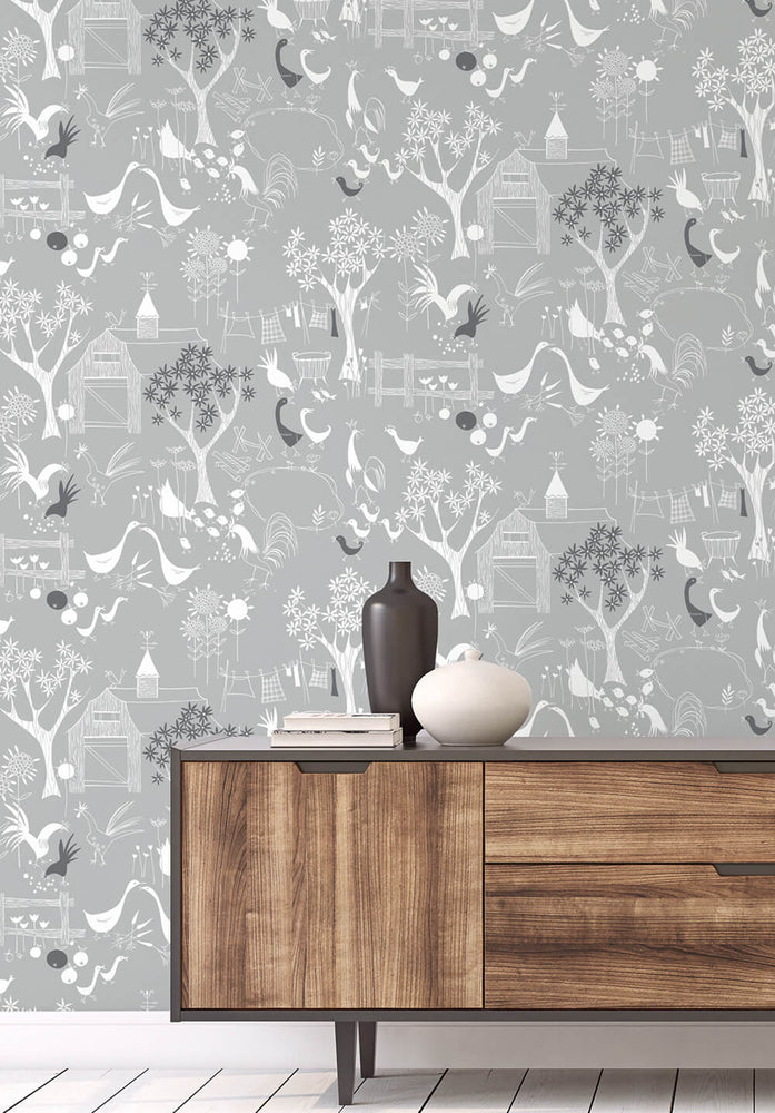NW34308 scandinavian farm peel and stick wallpaper entryway by NextWall
